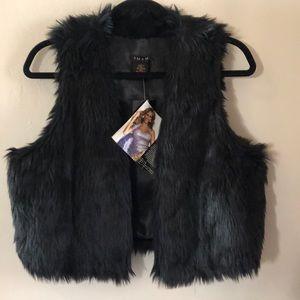 NWT IMAN Faux Black Fur Vest